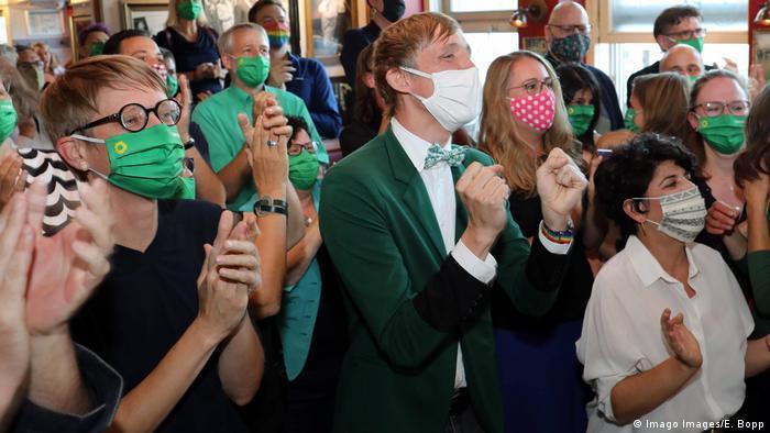 Green politicians celebrate exit polls