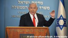 13.09.2020, Israel, Jerusalem: Benjamin Netanjahu, Ministerpräsident von Israel, spricht während einer Pressekonferenz über die Entwicklung der Coronavirus-Zahlen in Israel. Israels Regierung hat angesichts steigender Neuinfektionen mit dem Corona-Virus die Verhängung eines zweiten landesweiten Lockdowns beschlossen. Foto: Alex Kolomiensky/Pool Yedioth Ahronot/AP/dpa +++ dpa-Bildfunk +++ |