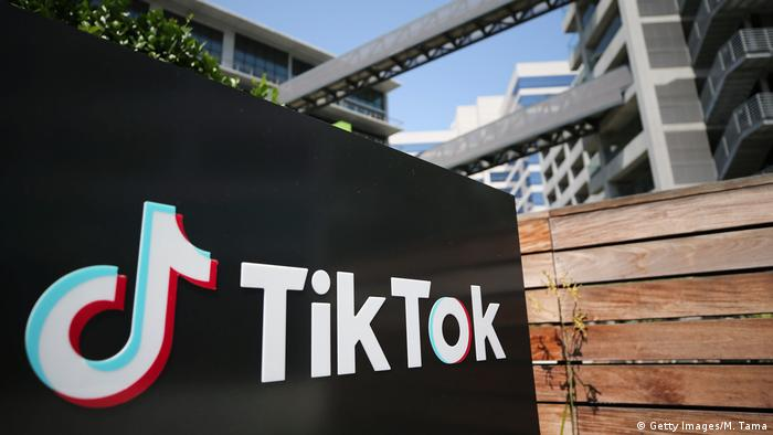 The TikTok logo displayed outside a TikTok office in California, USA