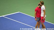 Sep 13, 2020; Flushing Meadows, New York, USA; Dominic Thiem of Austria embraces Alexander Zverev of Germany after defeating Zverev in the men's singles final match on day 14 of the 2020 U.S. Open tennis tournament at USTA Billie Jean King National Tennis Center. Mandatory Credit: Robert Deutsch-USA TODAY Sports