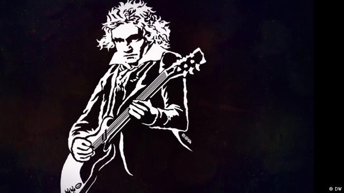 A cartoon depiction of Beethoven playing an electric guitar with a serious look on his face.  (DW)