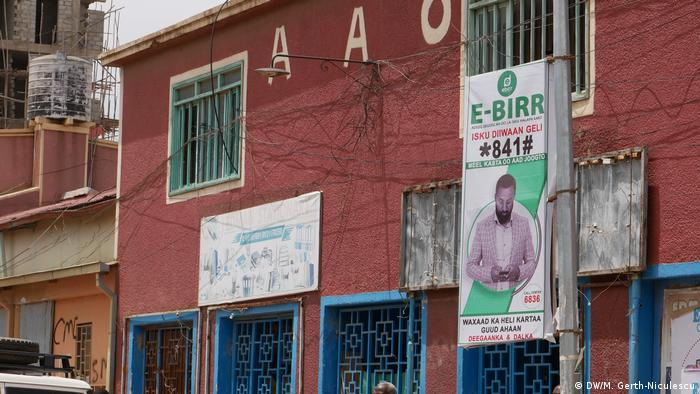 A poster for the E-Birr mobile money service