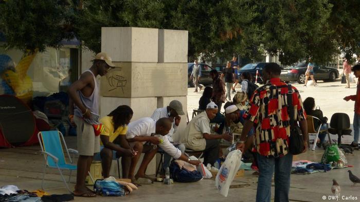 Guineenses no Rossio, em Lisboa