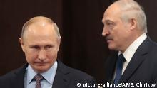 ARCHIV 2019 ** FILE- In this file photo taken on Friday, Feb. 15, 2019, Russian President Vladimir Putin, left, and Belarusian President Alexander Lukashenko meet in the Black sea resort of Sochi, Russia. Alexander Lukashenko's talks with Russian President Vladimir Putin on Monday Sept. 14, 2020, in the Black Sea resort of Sochi come a day after an estimated 150,000 people flooded the streets of the Belarusian capital, demanding Lukashenko's resignation. (Sergei Chirikov/Pool Photo via AP, File)