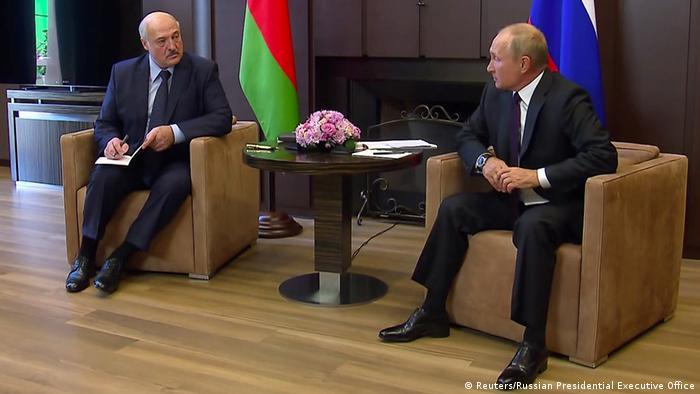 Александр Лукашенко и Владимир Путин на переговорах в Сочи, сентябрь 2020 года
