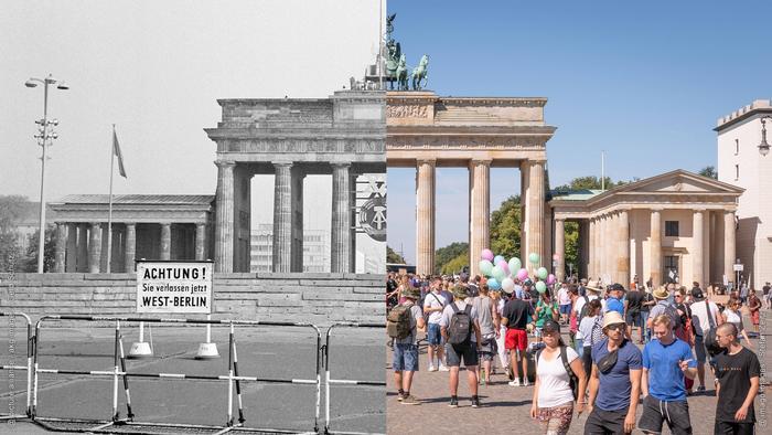 ساحة بوابة براندنبورغ في برلين كانت مغلقة قبل الوحدة الألمانية (يسار الصورة)، أما بعد الوحدة فهي تعجّ بالناس المحليين والسياح (يمين الصورة)