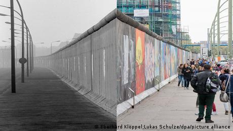 À gauche, le mur de Berlin avant 1989, sans présence humaine et à droite, la East Side Gallery avec plein de touristes