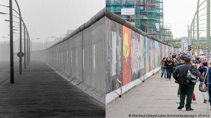 Photo collage: Left is a picture of the Berlin Wall in 1989 without any people in it. On the right, tourists walk past to painted East Side Gallery portion of the wall (Photo collage by Rayna Breuer)