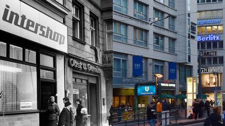 À gauche, le premier Intershop dans la Friedrichstraße. À droite, une vue de l'extérieur de la Friedrichstraße avec beaucoup de commerces, une station de métro et des passants.