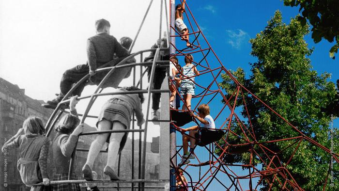 Photo collage: Kids climb on an old metal structure in a playground (left). Kids climb on a new play structure made of red rope (right). Photo collage: Rayna Breuer