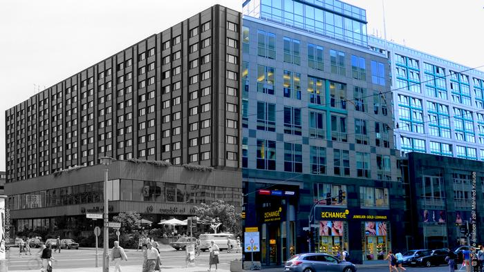 Photo collage: Left, a picture of the facade of the luxury Interhotel Metropol in the GDR. Right, the Maritim Hotel that stands in its place today. (Fotocollage: Rayna Breuer)