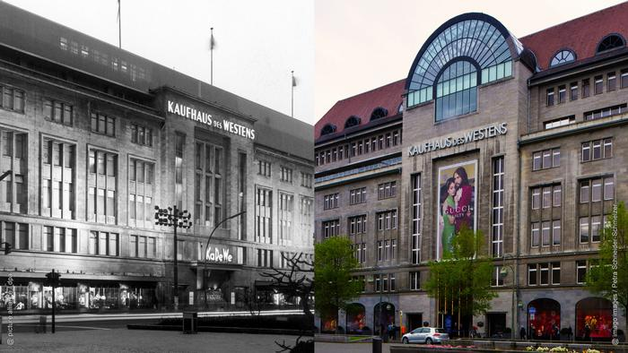 Photo collage: Left, an image of the exterior of the KaDeWe from1989, right, a photo of the updated facade after reunification (Photo collage: Rayna Breuer)