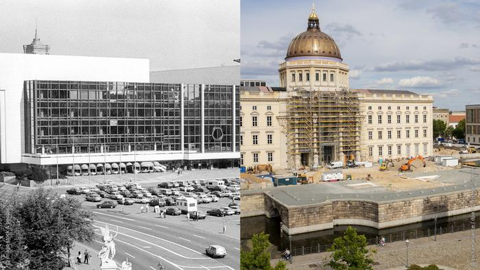 Photo collage: Left, a black and white image of the former Palace of the Republic. Right, the current Berlin Palace under construction (Photo collage: Rayna Breuer)