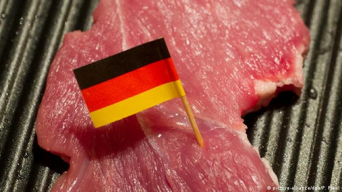 A piece of meat with a small German flag
