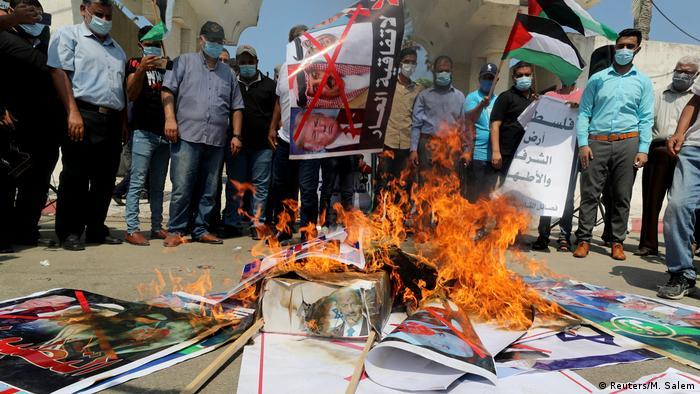 Gaza Stadt   Protest gegen Abkommen in Washington
