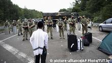 Jüdische Pilger an der Grenze Ukraine-Belarus