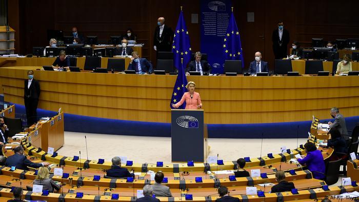 Ursula von der Leyen speaks at a plenary session at the European Union Parliament