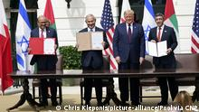 توقيع اتفاقي سلام بين إسرائيل وكل من الإمارات والبحرين في واشنطن