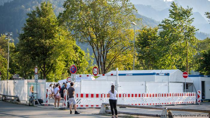 COVID-19 outdoor testing facility in Garmisch-Partenkirchen