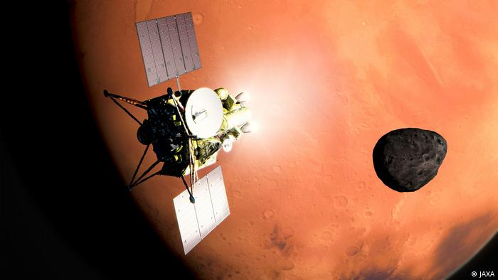 Artist illustration of the MMX spacecraft, which will use a range of instruments, including remote sensors to map the Martian moons
