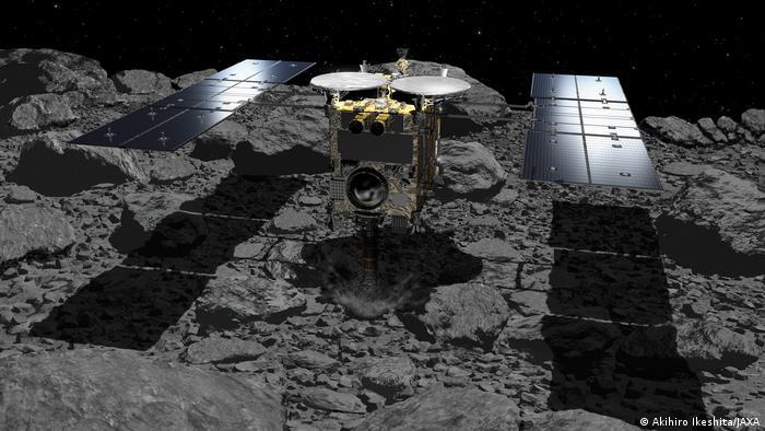 Artist illustration of the Hayabusa-2 asteroid explorer landed on the asteroid Ryugu