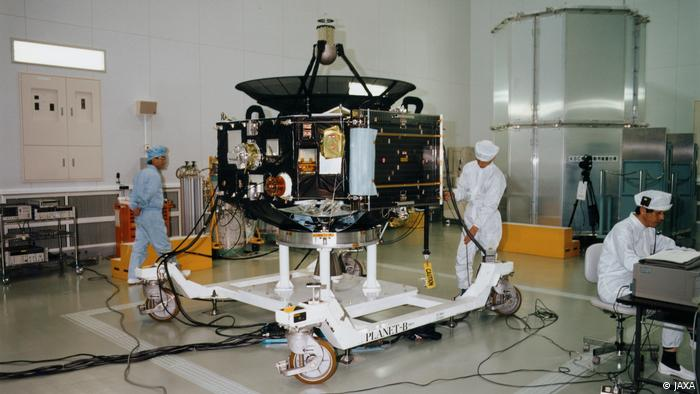 Japan's first Mars exploration spacecraft, NOZOMI (PLANET-B), in a cleanroom before launch