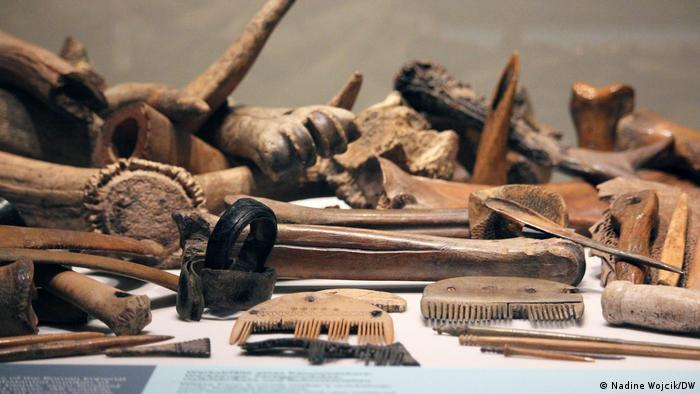 Wooden prehistoric combs part of the exhibition 'Die Germanen' (Nadine Wojcik/DW)