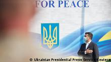 Ukrainian President Volodymyr Zelenskiy attends the opening of the Rapid Trident – 2020 international military exercises in Lviv Region, Ukraine September 17, 2020. Ukrainian Presidential Press Service/Handout via REUTERS ATTENTION EDITORS - THIS IMAGE WAS PROVIDED BY A THIRD PARTY.