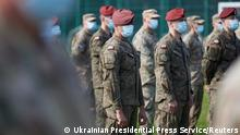 Polish Army servicemen attend the opening of the Rapid Trident – 2020 international military exercises in Lviv Region, Ukraine September 17, 2020. Ukrainian Presidential Press Service/Handout via REUTERS ATTENTION EDITORS - THIS IMAGE WAS PROVIDED BY A THIRD PARTY.