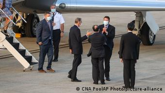 US Under Secretary of State Keith Krach is greeted at the airport in Taipei