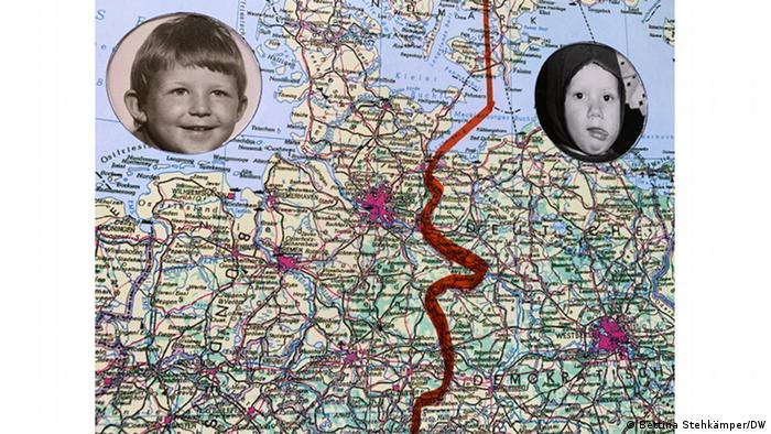 Map with inner German border and childrens' photos of Bettina and her husband(Bettina Stehkämper/DW)