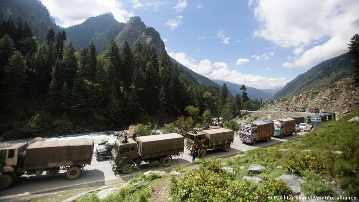 An Indian army convoy on the move in Ladakh