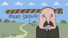 Karikatur Sergey Elkin Lukaschenko Grenzschließung