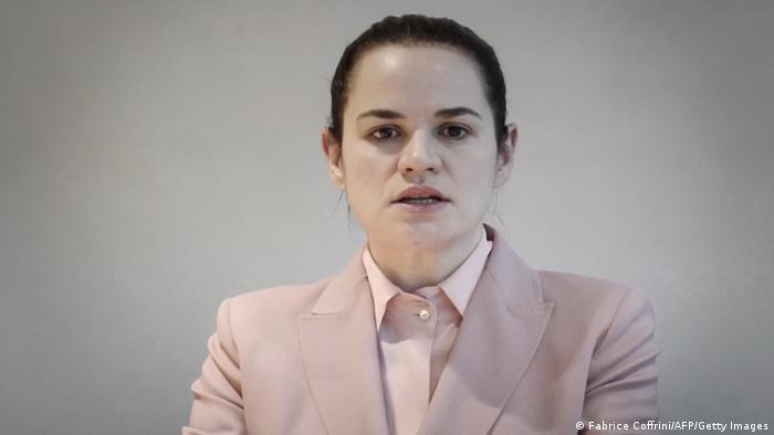 Schweiz Genf UN Swetlana Tichanowskaja Oppositionsführerin Belarus (Fabrice Coffrini/AFP/Getty Images)