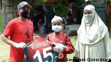 11-year-old Sheikh Yaamin Sinan meets his childhood hero Bangladesh cricket star Mushfiqur Rahim