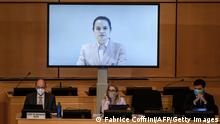 Schweiz Genf UN Swetlana Tichanowskaja Oppositionsführerin Belarus