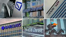 A combo photo showing the logos of Deutsche Bank, HSBC, Barclays, JPMorgan and others