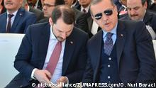 March 24, 2017 - Denizli - Turkish President Recep Tayyip Erdogan speaks in Denizli City Stadium, an Aegean City of Turkey. Turkey begins countdown to presidential referendum. A referendum on April 16 will ask the electorate to vote Yes or No to the changes proposed in an 18-article bill. Berat Albayrak, son-in-law of Erdogan and Minister of Energy of Turkey |