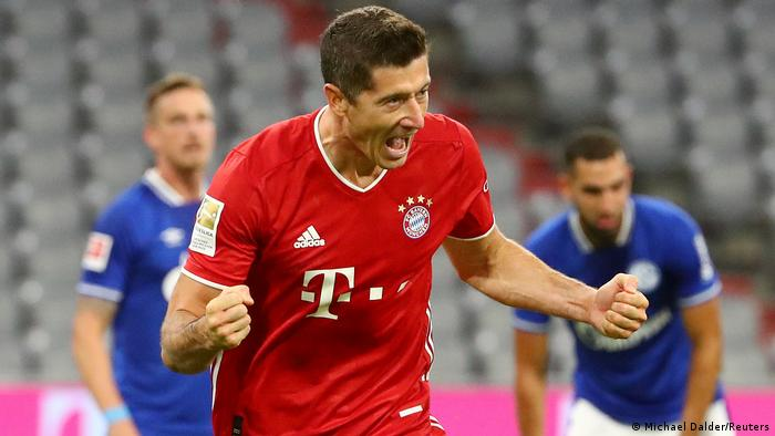 Lewandowski celebrates scoring a goal