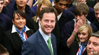 Nick Clegg poses with British students