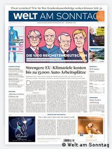 Cover der Zeitung Welt am Sonntag 20.09.2020