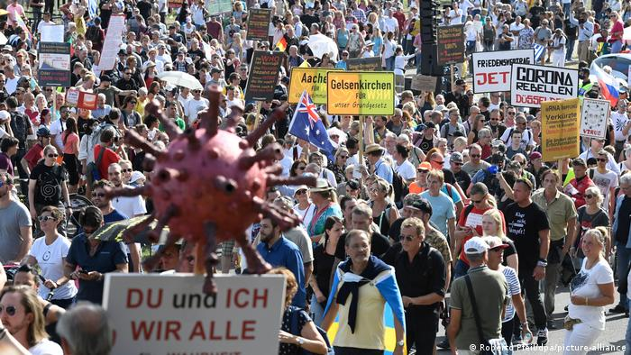 Protesters march in Dusseldorf