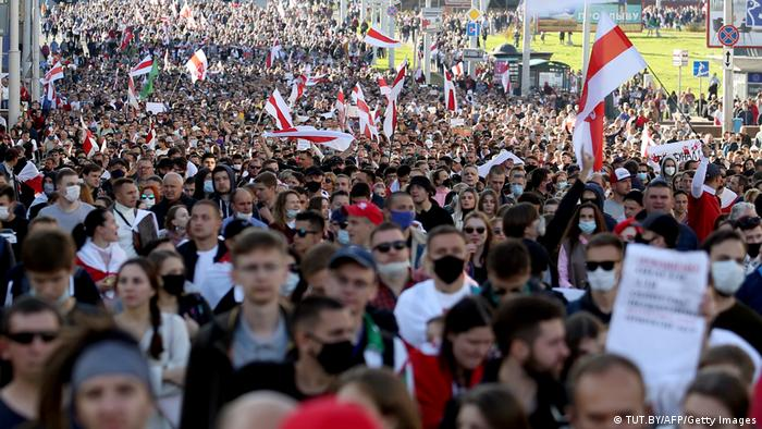 Mass anti-government protests in Minsk, Belarus (TUT.BY/AFP/Getty Images)