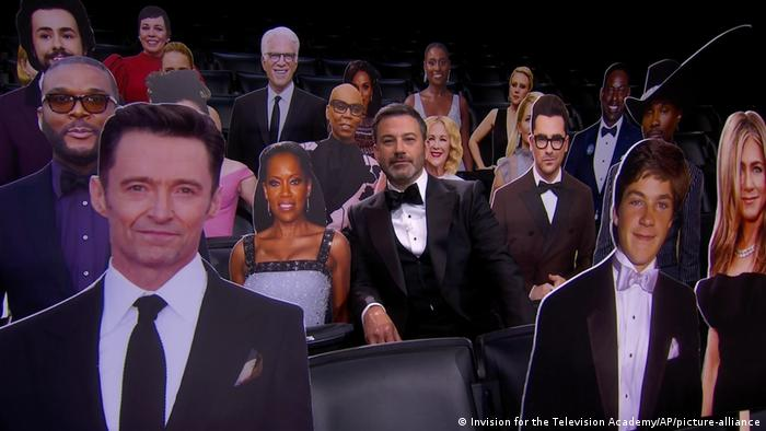immy Kimmel, center, appears in the audience with celebrity cut-outs during the 72nd Emmy Awards telecast