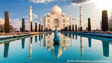 Front view of the Taj Mahal in Agra, India.
