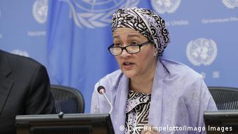Amina J. Mohammed en avril 2019 lors d'une rencontre à New York.
