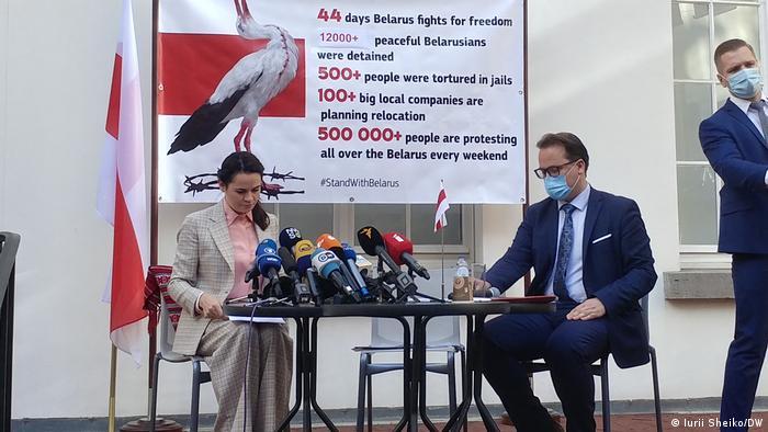 Світлана Тихановська дала пресконференцію під час візиту до Брюсселя