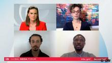DW Global Media Forum | The power of influencers — and what they mean for democracy --- DW Global Media Forum Session 6 Screenshots Live Eventz, 21.9.2020 --- Rachel Stewart; Masih Alinejad; Hussein Baoumi; J.J. Omojuwa