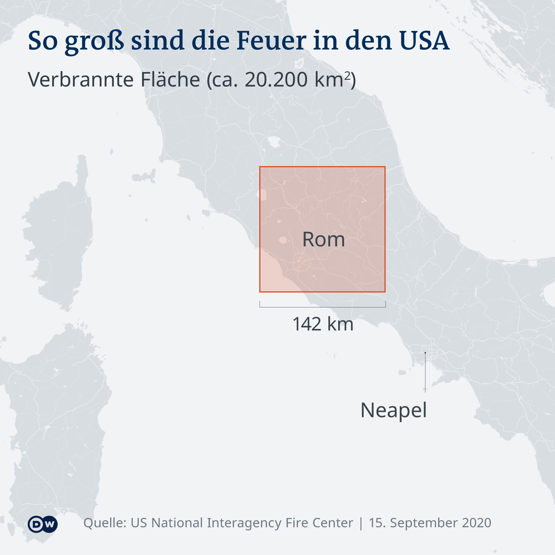 Infografik So groß sind die Feuer in den USA. Vergleich der Fläche in Europa