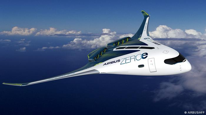 Prototipo de avión Airbus ZEROe turbohélice propulsado por hidrógeno